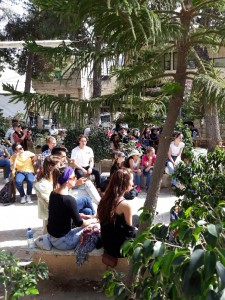 April 2018 – people get ready for a music concert in the wonderful peaceful, central garden café well away from where Israeli tourists visit.  Despite soldiers, gunfire, tear gas, leaflets and rules …… life goes on nevertheless. Sumud.