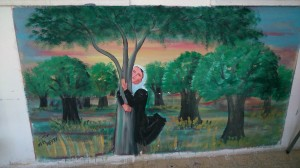 A large painting in the girls school … showing how loved and valued trees are, particularly the olive, in Palestinian life and culture. And the land.